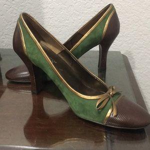 Franco Sarto Green Suede Heels